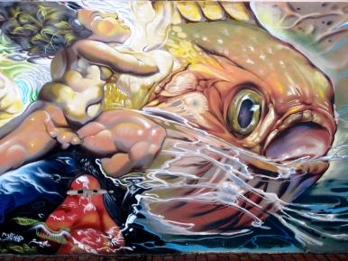 """Amanecer """"Poema del Atlántico"""" Graffiti hip-hop shop/Néstor (febrero 2014)"""